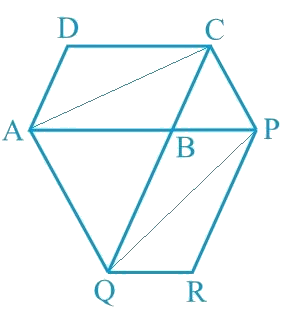 The side AB of a parallelogram ABCD is produced to any point P. A line through A and parallel to CP meets CB produced at Q and then parallelogram PBQR is completed (see Fig. 9.26). Show that ar (ABCD) = ar (PBQR). [Hint: Join AC and PQ. Now compare ar (ACQ) and ar (APQ).]