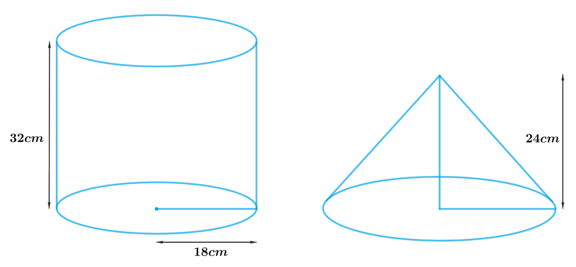 A cylindrical bucket, 32 cm high and with radius of base 18 cm, is filled with sand. This bucket is emptied on the ground and a conical heap of sand is formed. If the height of the conical heap is 24 cm, find the radius and slant height of the heap.
