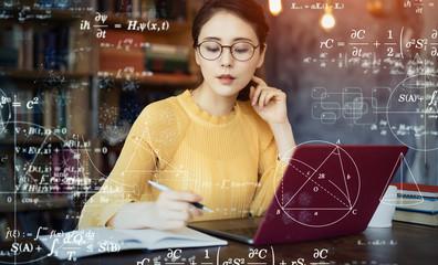 teacher solving math problems