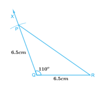 An isosceles triangle in which the lengths of each of its equal sides is 6.5 cm