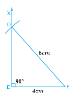 A right-angled triangle whose hypotenuse is 6 cm long and one of the legs is 4 cm long.