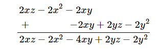 Add: 2x (z - x - y) and 2y(z- y - x)