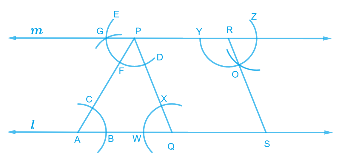Draw a line l. Draw a perpendicular to l at any point on l. On this perpendicular choose a point X, 4 cm away from l. Through X, draw a line m parallel to l.