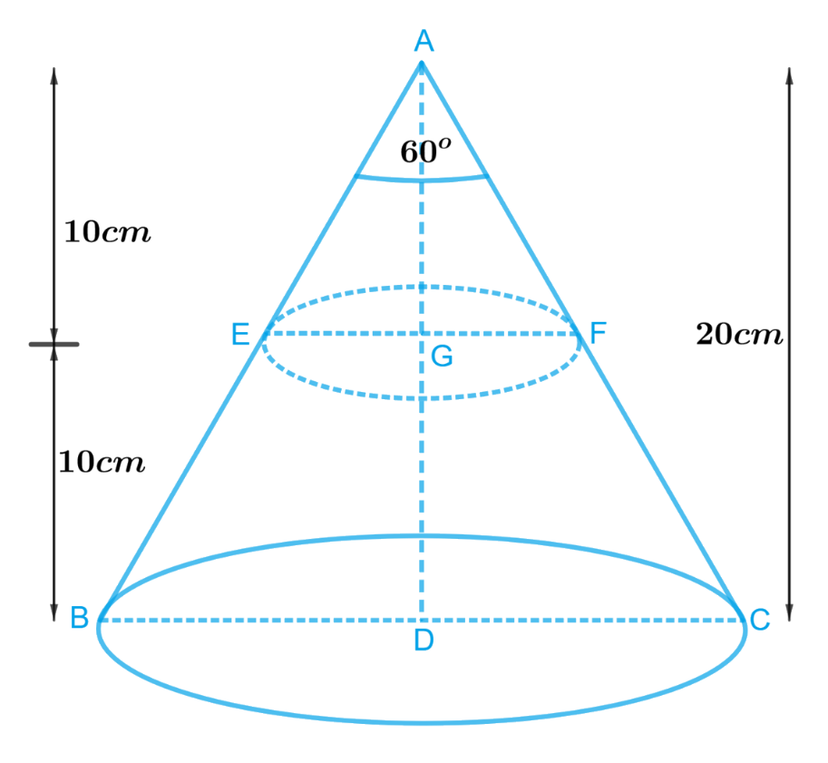 A metallic right circular cone 20 cm high and whose vertical angle