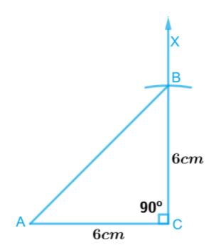 An isosceles right-angled triangle ABC, where m∠ACB = 90° and AC = 6 cm.