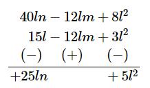 Subtract: 3l (l - 4m + 5n) from 4l (10n - 3m + 2l )