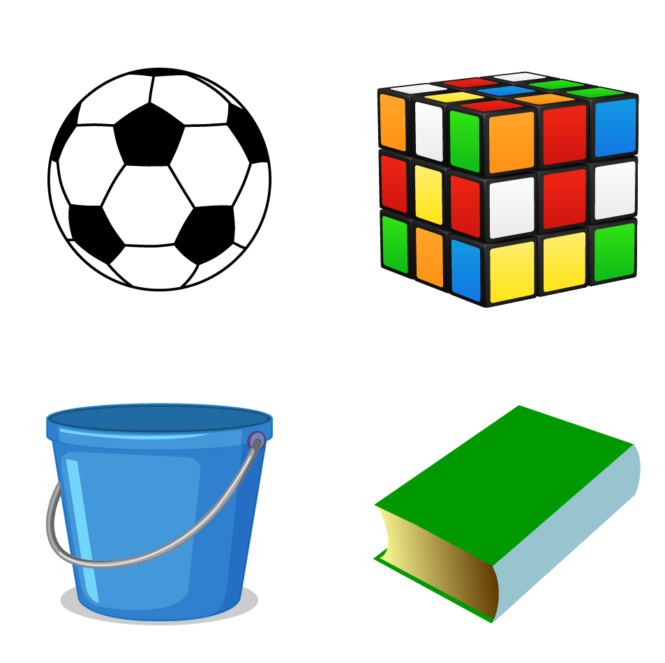 A soccer ball, a bucket, a Rubik's cube, and a book are all examples of 3D shapes.