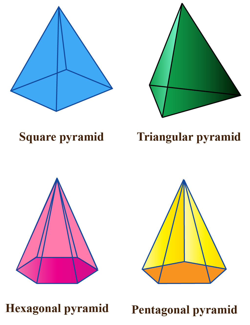 polygon based pyramids - square, pentagonal, hexagonal, triangular