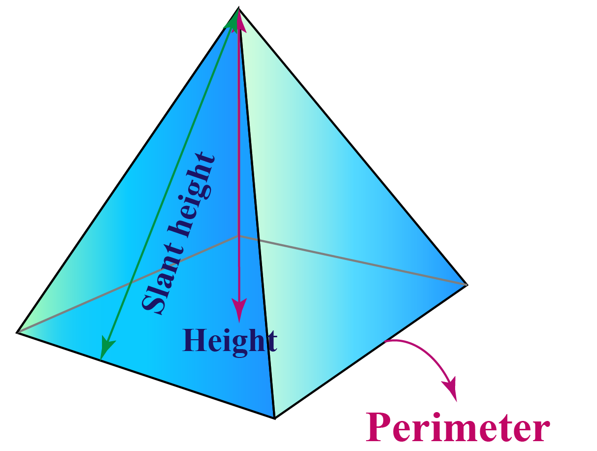 Prism with slant height, length and perimeter marked