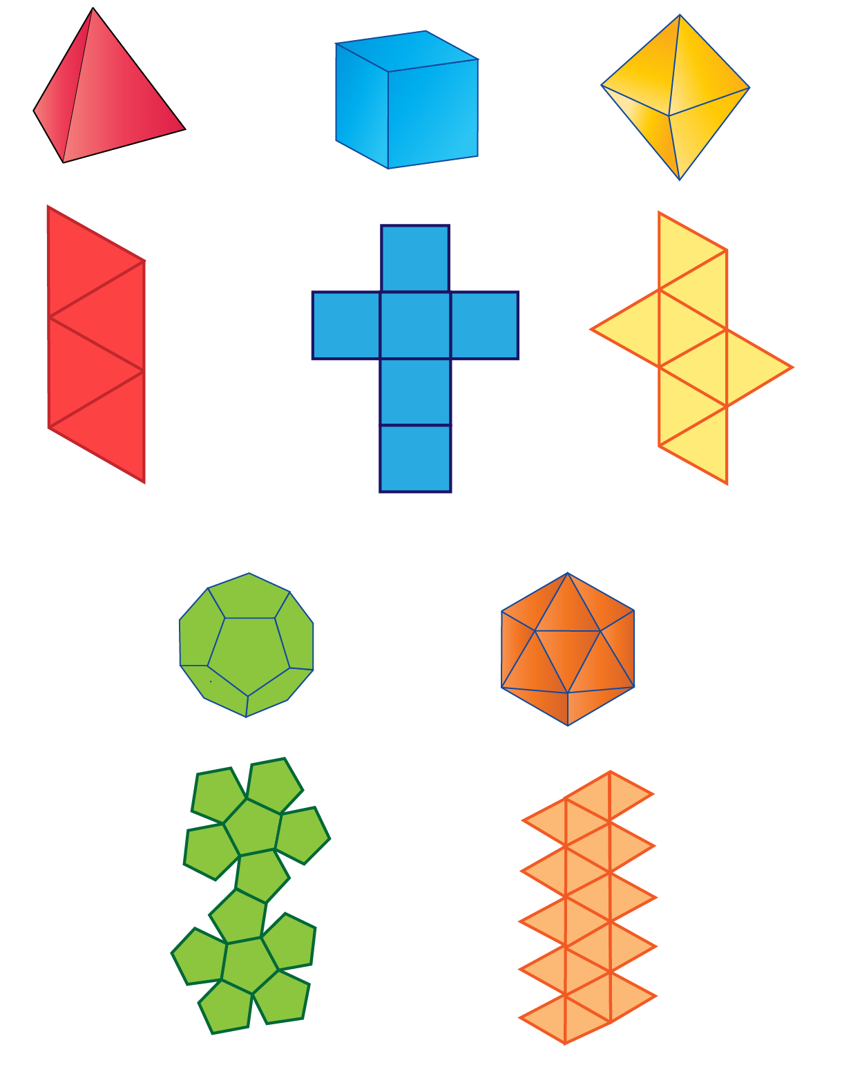 Five platonic solids, three-dimensional figures and their corresponding nets.