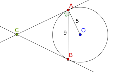 Circle, radius, two tangents and chord example 1