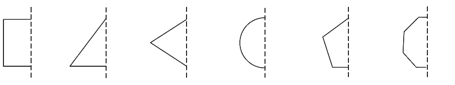 In the following figures, the mirror line (i.e., the line of symmetry) is given as a dotted line. Complete each figure performing reflection in the dotted (mirror) line. (You might perhaps place a mirror along the dotted line and look into the mirror for the image). Are you able to recall the name of the figure you complete?