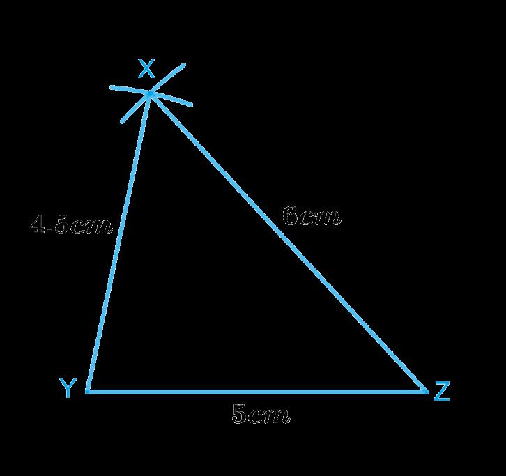Construct ΔXYZ in which XY=4.5cm, YZ=5cm and ZX=6cm.