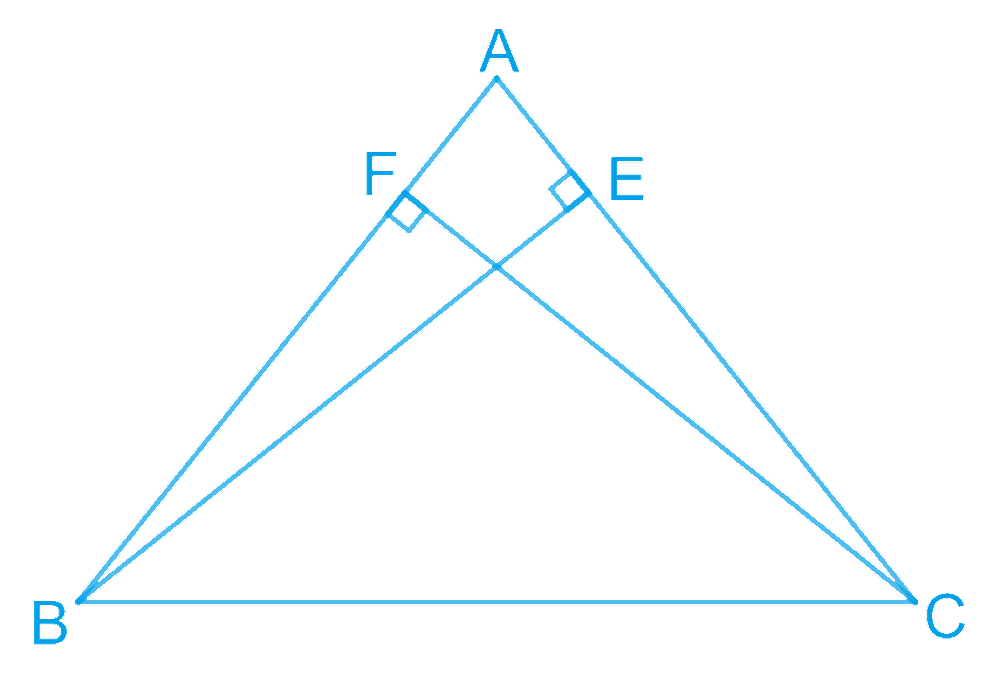 ABC is a triangle in which altitudes BE and CF to sides AC and AB are equal (see Fig. 7.32). Show that (i) ΔABE ≅ ΔACF (ii) AB = AC, i.e., ABC is an isosceles triangle.