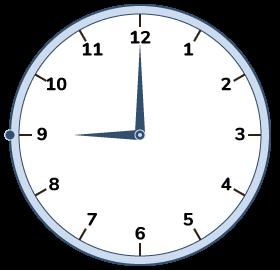 09:00 on a clock