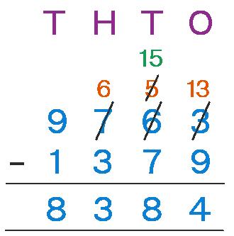 4 digit subtraction 9763 - 1379