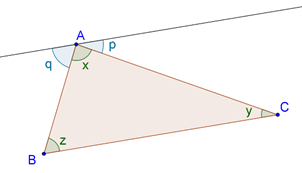 Sum of angles of triangle