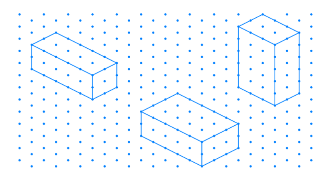 Isometric sketch of cuboid are5cm,3cm and2cm