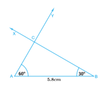 ∆ABC, given m∠A = 60°, m∠B = 30° and AB = 5.8 cm.