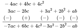 Subtract: 3a(a + b + c) - 2b(a - b + c) from 4c (-a + b + c)