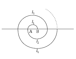 A spiral is made up of successive semicircles