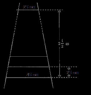 A ladder has rungs 25 cm apart