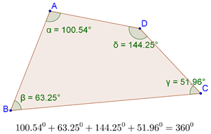 Quadrilateral with angles marked