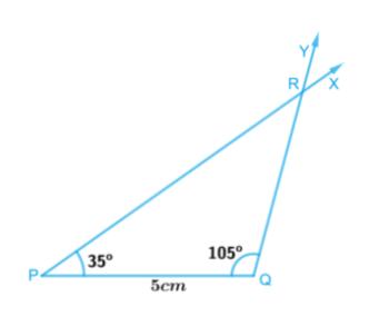 In triangle PQR , PQ = 5 cm , ∠ PQR = 105° and ∠QRP = 40°