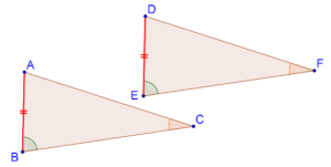 Two angles of triangles are equal