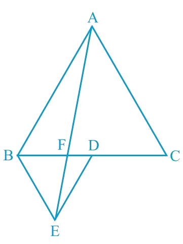 In Fig.9.33, ABC and BDE are two equilateral triangles such that D is the mid-point of BC. If AE intersects BC at F, show that i) ar (BDE) =1/4 ar (ABC) ii) ar (BDE) = 1/2 ar (BAE) iii) ar (ABC) = 2 ar (BEC) iv) ar (BFE) = ar (AFD) v) ar (BFE) = 2 ar (FED) vi) ar (FED) = 1/8 ar (AFC) [Hint : Join EC and AD. Show that BE    AC and DE    AB, etc.]