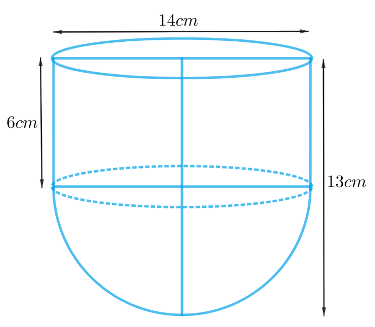 A vessel is in the form of a hollow hemisphere mounted by a hollow cylinder.