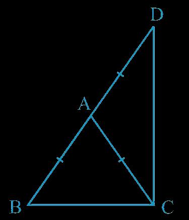ΔABC is an isosceles triangle in which AB = AC. Side BA is produced to D such that AD = AB (see Fig. 7.34). Show that ∠BCD is a right angle.