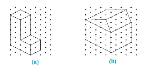 Make an oblique sketch for each one of the given isometric shapes: