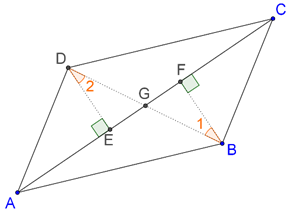 Opposite sides are equidistant from diagonal