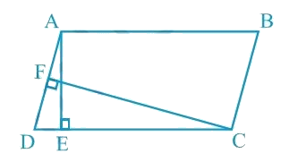 In Fig. 9.15, ABCD is a parallelogram, AE ⊥ DC and CF ⊥ AD. If AB = 16 cm, AE = 8 cm and CF = 10 cm, find AD.