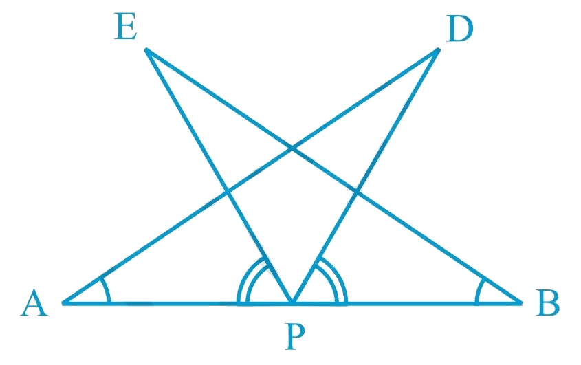 AB is a line segment and P is its mid-point. D and E are points on the same side of AB such that ∠BAD = ∠ABE and ∠EPA = ∠DPB (see Fig. 7.22). Show that i) ΔDAP ≅ ΔEBP ii) AD = BE