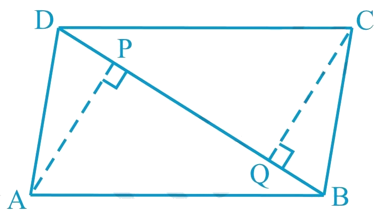 ABCD is a parallelogram and AP and CQ are perpendiculars from vertices A and C on diagonal BD (See the given figure). Show that