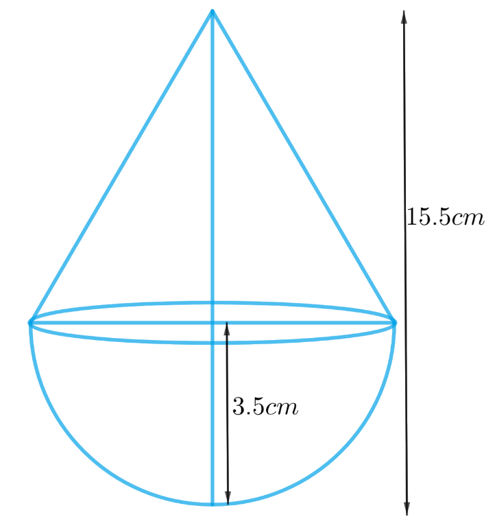 A toy is in the form of a cone of radius 3.5 cm mounted on a hemisphere of same radius. The total height of the toy is 15.5 cm. Find the total surface area of the toy