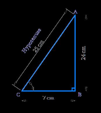 right-angled at B, AB = 24 cm, BC = 7 cm