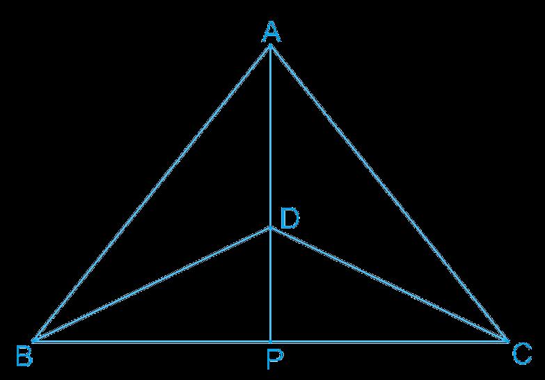 Δ ABC and Δ DBC are two isosceles triangles on the same base BC and vertices A and D are on the same side of BC (see Fig. 7.39). If AD is extended to intersect BC at P, show that (i) ΔABD ≅ ΔACD (ii) ΔABP ≅ ΔACP (iii) AP bisects ∠A as well as ∠D (iv) AP is the perpendicular bisector of BC.