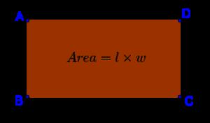 Parallelogram area = Length x Width
