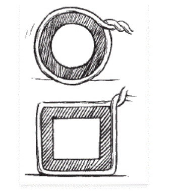 Pragya wrapped a cord around a circular pipe of radius 4 cm (adjoining figure) and cut off the length required of the cord. Then she wrapped it around a square box of side 4 cm (also shown). Did she have any cord left?