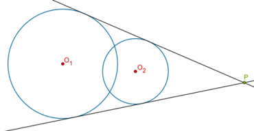 Two direct common tangents type 3