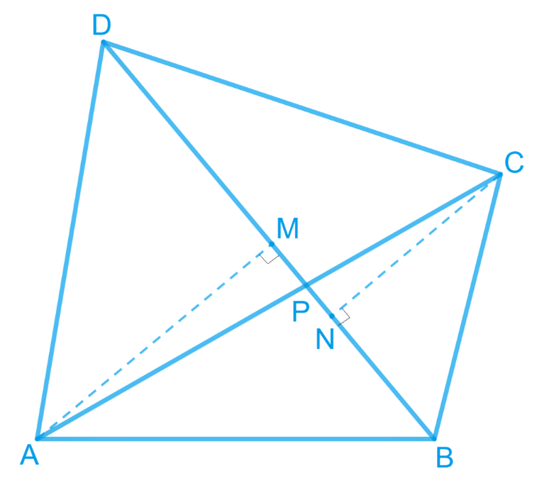 Diagonals AC and BD of a quadrilateral ABCD intersect each other at P. Show thatar (ΔAPB) × ar (ΔCPD)= ar (ΔAPD) × ar (ΔBPC) [Hint: From A and C, draw perpendiculars to BD]