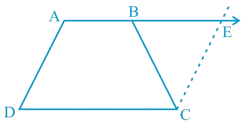 ABCD is a trapezium in which AB || CD and AD = BC (see Fig. 8.23). Show that (i) ∠A = ∠B (ii) ∠C = ∠D (iii) ∆ABC ≅ ∆BAD (iv) diagonal AC = diagonal BD [Hint: Extend AB and draw a line through C parallel to DA intersecting AB produced at E.]