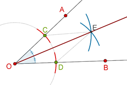 Two arcs intersecting and ray