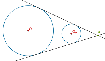 Two direct common tangents type 1