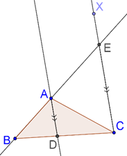 Line parallel to angle bisector of a triangle