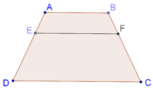 Line parallel to base of trapezium