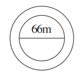 A circular flower bed is surrounded by a path 4 m wide. The diameter of the flower bed is 66 m. What is the area of this path? (π = 3.14)